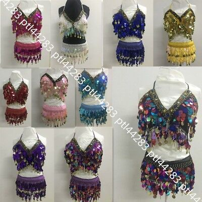 Belly Dance Costume Performance Set Carnival Party Sequin Outfits Bra & Hipscarf ()
