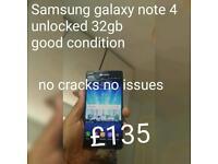 Samsung galaxy note 4 32gb unlocked No cracks no issues 100 % working