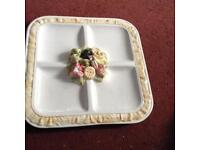 Italian hand painted square serving plate good condition