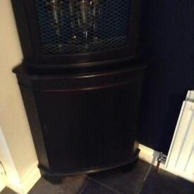 Corner cupboard painted and waxed in black