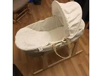 CLAIRE DE LUNE MOSES BASKET, ALMOST NEW!! £40 ONO
