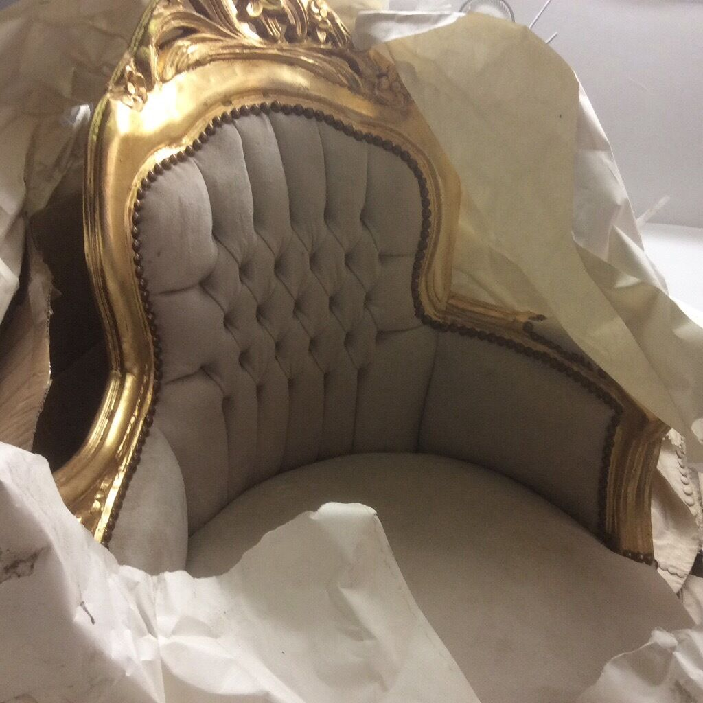 Cream & gold chaise lounge