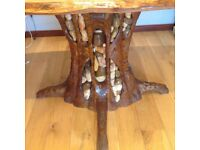 Uniquely designed, hand-carved, elm and oak dining table with 4 matching chairs. Perfect condition.