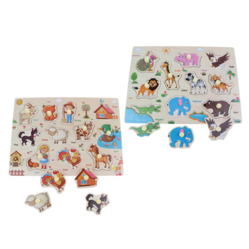 2 Sätze Holz Peg Puzzle Puzzle Lernspielzeug für 1 4 jährige Baby