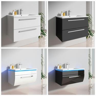 Badmöbel-Set Waschtisch Unterschrank schwarz weiß 60,70,90 cm in ...