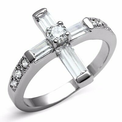 Round Set Cross (Womens Round Clear CZ Set in  Stainless Steel Non Tarnish Christian Cross Ring )