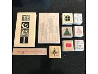 Wooden craft stampers x 10