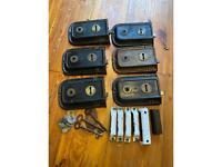 Set of 6 antique rim locks.