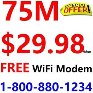 Unlimited Internet , LOWEST PRICE - $30/month for 75M internet. Please Call 1-800-880-1234 or SMS 416-422-2222 to order
