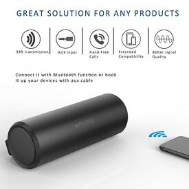 Portable Bluetooth Speakers - 10W Driver Wireless Stereo Speaker, 33 foot Range Built-in Mic