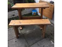 Hand made table and bench