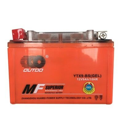 YTX9-BS High Performance - Maintenance Free - Gel Motorcycle Battery 12v 9Ah