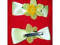 """St davids day daffodil hair clips 4 """" wide bows"""