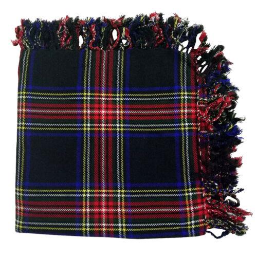 Traditional Highlander Tartan Kilt Fly Plaid Black Stewart Scarf Scottish Outfit
