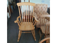 Fabulous Vintage Windsor Rocking Chair Large Beech Easy Country Kitchen Quality Armchair