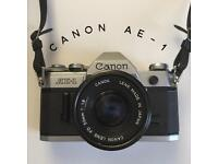 Canon AE-1 35mm SLR Film Camera TESTED WORKING with FD 50mm F/1.8 Lens