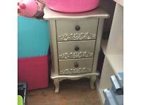 Champagne 3 draw bedside chest
