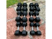10-35kg Hex Dumbbell Weights. See ad for Individual Price.