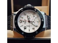 New Bagged And Boxed whiredial black ceramic bezel silver casing rubber strap Hublot Fusion Watch