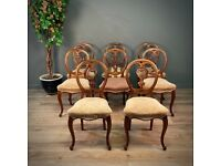 Set Of Eight Antique Victorian Rosewood Balloon Back Dining Chairs, Reupholstery