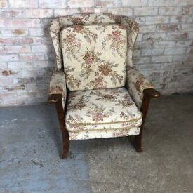 Vintage Wingback fireside Armchair with Flower Detail Fabric