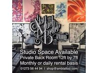 PRIVATE STUDIO SPACE AVAILABLE IN TATTOO SHOP