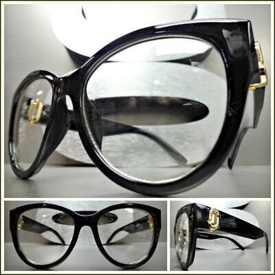 Klassisch Elegant Retro Cat Eye Stil Klar Gläser Brillen Schwarz Mode Frame