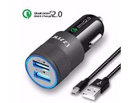 Car Charger 2.4A Dual USB with 3Ft Micro USB Cable