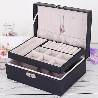 Jewelry Box Organizer Display Dual Layer For Rings Brackets Necklace Black