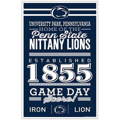 """Penn State Nittany Lions 11""""x17"""" Wood Sign Established Design [NEW] Banner Wall"""