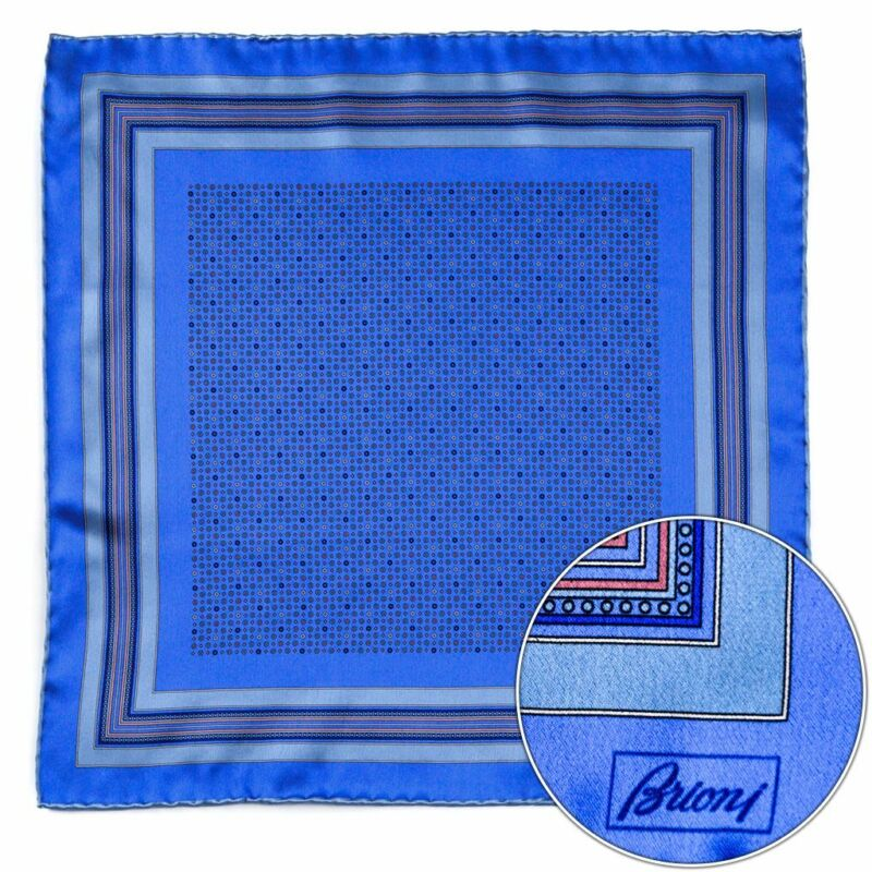 $150 New BRIONI Light Blue Geometric Silk Hand Rolled Pocket Square Handkerchief