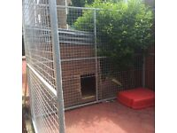 8x8 ft galvanised dog pen with attached 4x3ft kennel