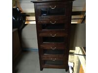 Glass fronted 5 draw chest