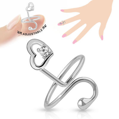 Heart Single CZ Gem Adjustable Nail Ring / Toe Ring