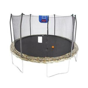 New Skywalker Trampolines Jump N Dunk 15' Round Trampoline w/ Basketball Hoop, Camo, 15 Feet (Pick-up Only) - DI3