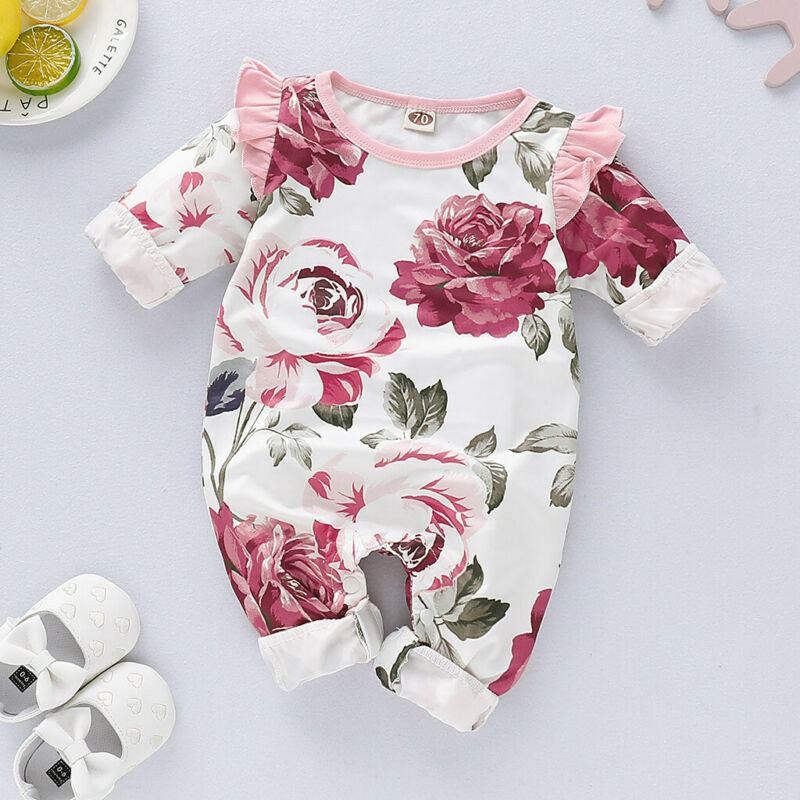 Newborn Outfits Set Flower Jumpsuit Ruffles Sleeves Baby Girls Clothes Romper
