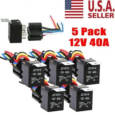 5 Pack 3040 Amp 12v 5-pin Spdt Automotive Relay W Wires Harness Socket Set