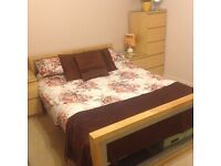 Double bed, mattress and 2X Malm drawers