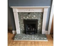 Coal effect gas fire, marble surround, hearth & wooden mantle/surround