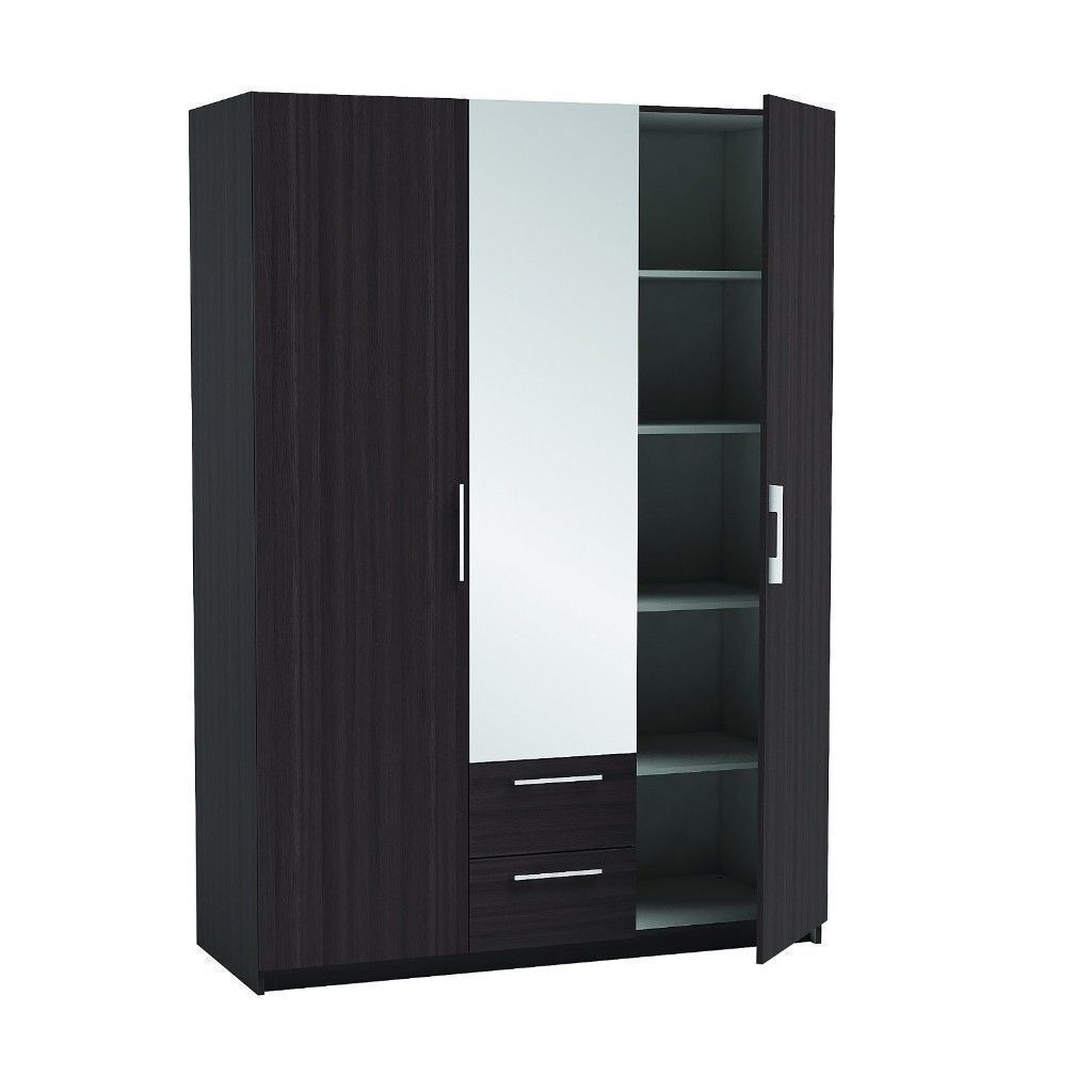 BRAND NEW 3 DOOR WARDROBE WITH MIRROR IN WHITE OR BLACK