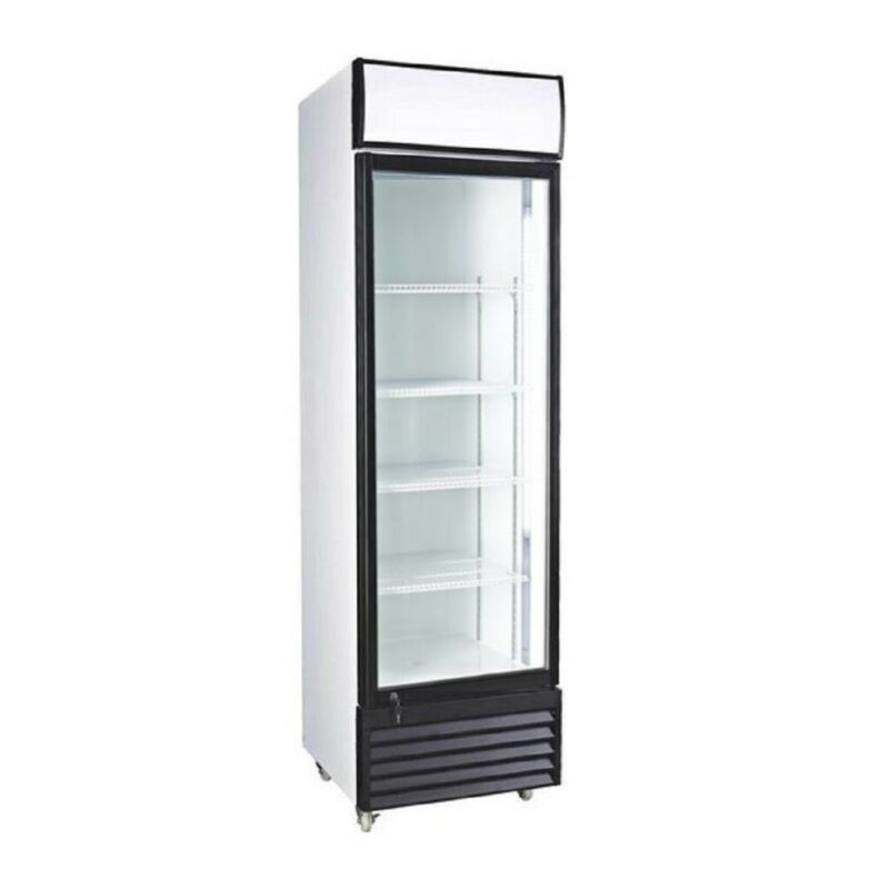 Glass Door Upright Display Beverage Cooler, Merchandiser Refrigerator