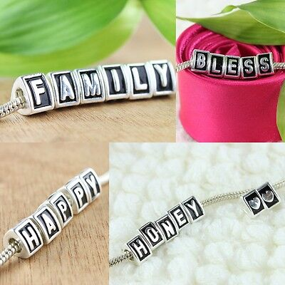 Silver Alphabet Letter Triangle European Big Hole Beads Charm Fit Bracelet - Alphabet Charms