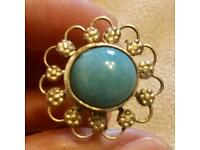 Large Vintage Turquoise ? Stone Intricate Floral Wreath Round Dress Ring UK P