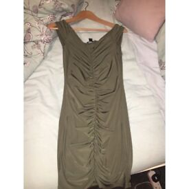 Great condition ruched khaki dress