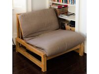 Single Oak Futon Sofa Bed in Excellent Condition. Includes Grey Cover. Smoke/Pet Free House.