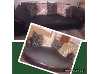 Brown sofa from DFS - 4 seater and cuddler sofa half leather half material