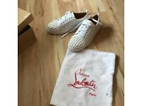 Women's Ladies Christian Louboutin red sole spiked spike white trainers size UK 6 brand new in box