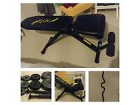 Dumbell bench with weights totalling 42 kg and ez curl bar