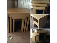 Harveys hampshire nest of three tables oak colour very heavy set