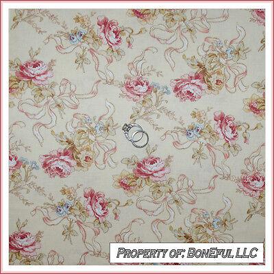 BonEful Fabric FQ Cotton VTG Cream Pink Victorian Shabby Chic Rose Flower Ribbon